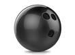3d render black bowling ball. Isolated on white background.