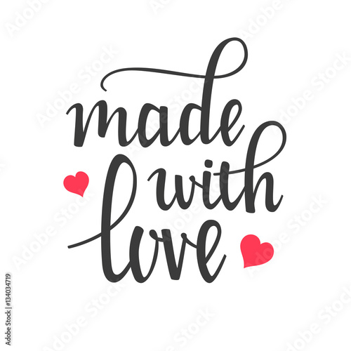 Made with Love Hand Lettering Calligraphy Canvas Print
