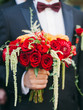 canvas print picture - wedding bouquet with red roses