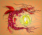 Illustration in stained glass style with red, winged dragon and a sun in the sky