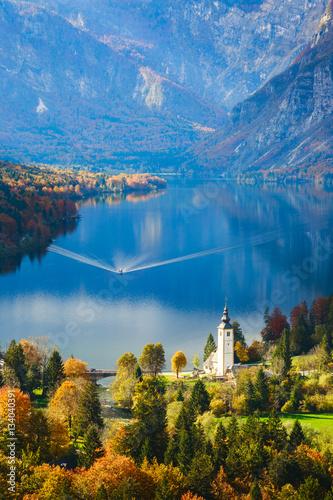 Fototapeta Aerial view of Bohinj lake in Julian Alps, Slovenia obraz