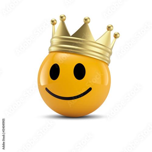 Fotografia, Obraz  Happy Smiley Emoticon mit Krone: Kunde ist König