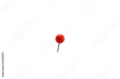 Fényképezés  stationery small pin with a ball stuck in a white isolated background