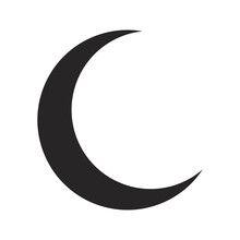 Crescent Moon Silhouette Vector Symbol Icon Design.