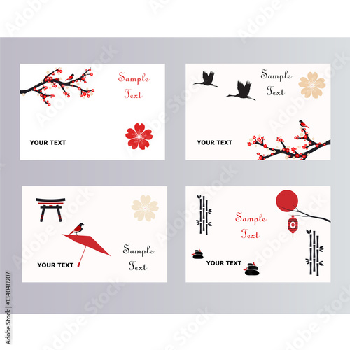 set of simple japanese postcards buy this stock vector and explore