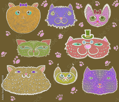 Poster Hibou Seamless pattern of colored cats