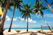 tropical beach, Philippines, palm trees with hammocks, blue sky, sea