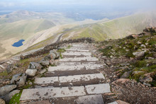 Snowdonia National Park, North Wales, United Kingdom; Steps To The Top, View Of The Mountains And The Lakes, Selective Focus