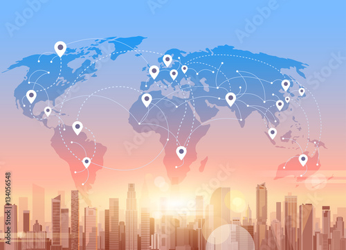 Social media communication internet network connection city social media communication internet network connection city skyscraper view world map background vector illustration gumiabroncs Image collections