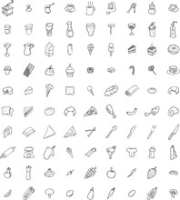 Ninety Hand Drawn Food And Kitchenware Icons