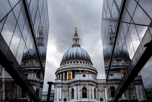 St. Paul Cathedral reflected on glass office building in London Wallpaper Mural