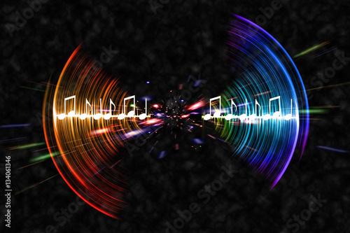 Photo  Neon Soundwave Notes
