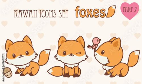 Photo  Kawaii foxes icons set. Part 2