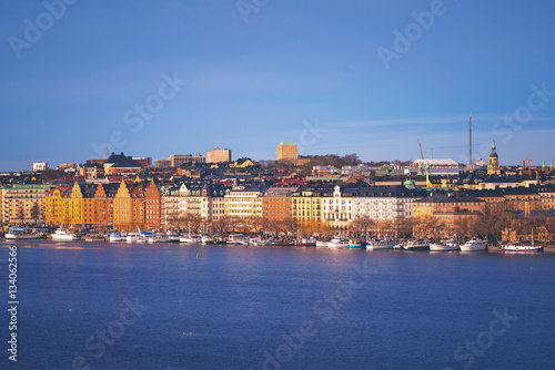 Staande foto Stockholm Stockholm with colorful buildings in sunlight
