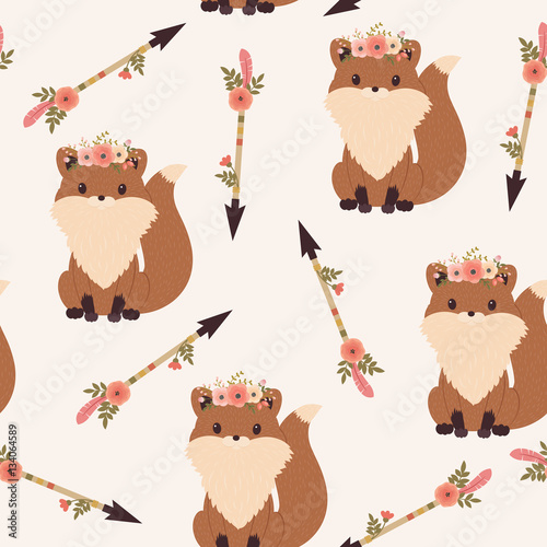 Cotton fabric Fox in a floral wreath seamless wallpaper