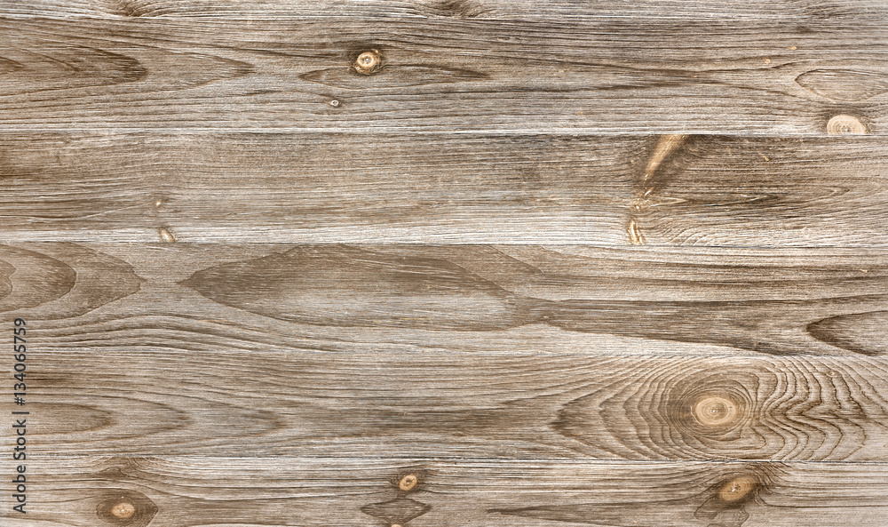Fototapety, obrazy: Old weathered wood surface with long boards lined up. Wooden planks on a wall with grain and texture. Light neutral tones with age.