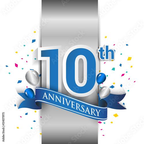 фотография  10th anniversary logo with silver label and blue ribbon, balloons, confetti