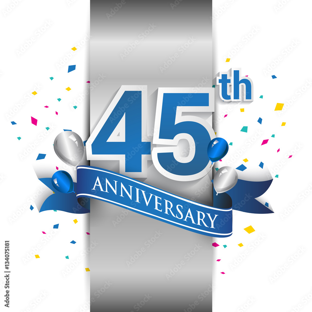 фотография  45th anniversary logo with silver label and blue ribbon, balloons, confetti
