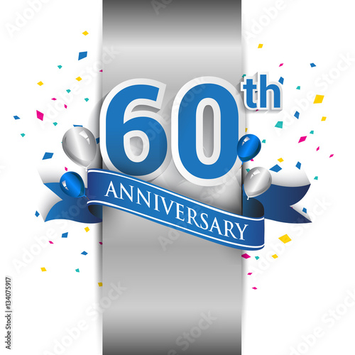 Платно  60th anniversary logo with silver label and blue ribbon, balloons, confetti