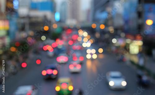 Foto op Aluminium Nacht snelweg Blurred traffic jam in bangkok, Thailand
