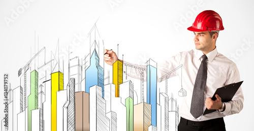 Fototapeta Business person sketching a city sight obraz na płótnie
