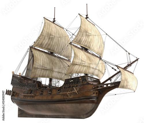 Obraz na plátne  Sailboat 3D Illustration Isolated On White