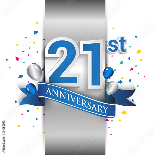 фотография  21st anniversary logo with silver label and blue ribbon, balloons, confetti