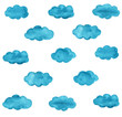Leinwandbild Motiv Blue watercolor clouds pattern