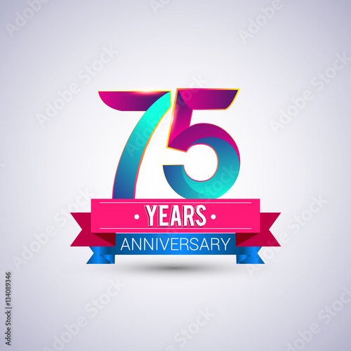 75 years anniversary logo, blue and red colored vector design Poster