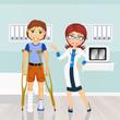 Man with crutches orthopedist