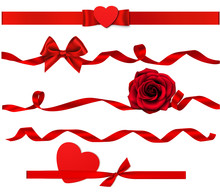 Set Of Decorative Red Heart, R...