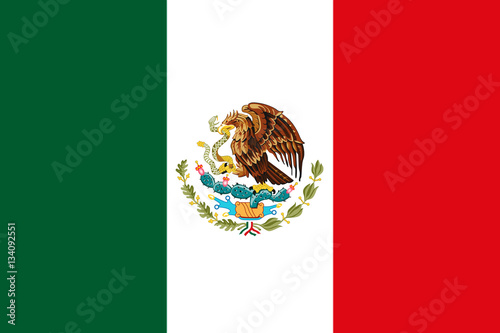 In de dag Mexico Mexican National Flag With Eagle Coat Of Arms 3D Rendering