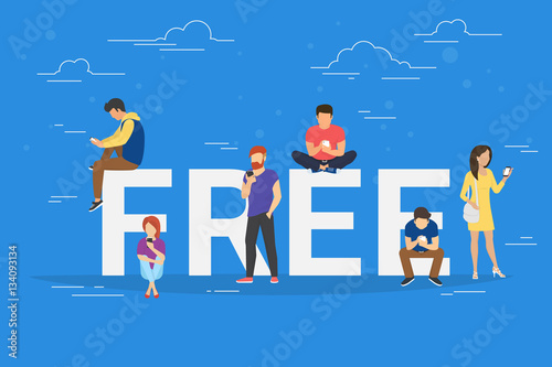 Free commercial offers concept illustration of young people