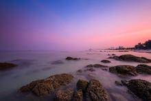 Sea Shore After Sunset At Hua Hin Beach, Thailand