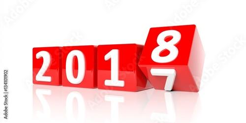 Fotografía  New year 2018. 3d illustration