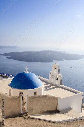 Fototapety, obrazy: Church in Fira on Santorini Island (part of the Cyclades)