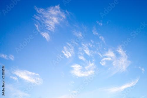 White clouds in deep blue sky, natural photo Fototapeta