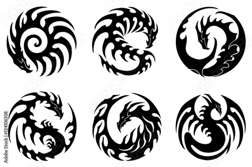 a3c7f0ab7217c vector illustration, set of round tribal dragon designs, black and white  graphics