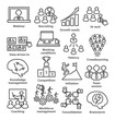 Business management icons in line style. Pack 30.