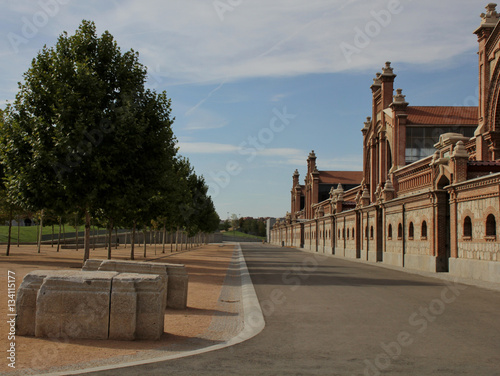 Street in front of Matadero buildings in Madrid, Spain Canvas Print