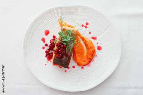 Photo  Fried salmon steak with pumpkin puree, red berry sauce and herbs