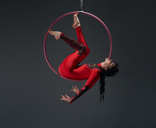 Young Slim Gymnast With Red Hoop Artistic Portrait