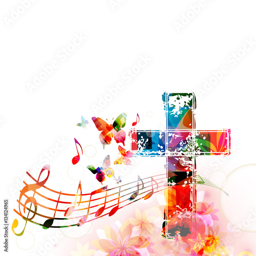 Fotografie, Obraz  Colorful christian cross with music staff and notes isolated vector illustration