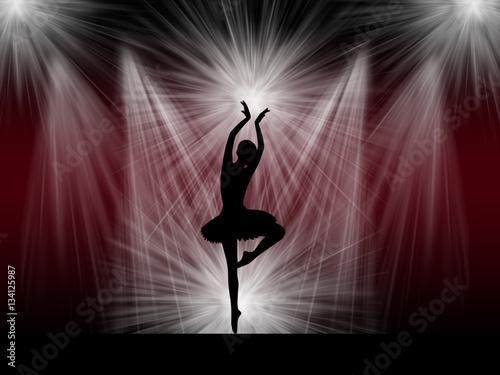 Ballet dancer ballerina on the stage Canvas Print