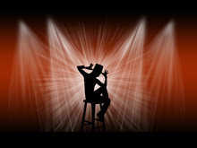 Dancer Actor On The Stage With Background Lights