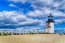 Brant Point Light House On The Island Of Nantucket, Massachusetts On A Summer Day