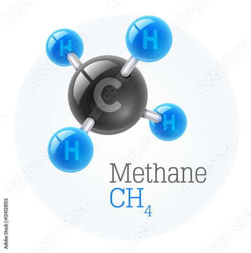 Physical chemical molecule model of gas methane