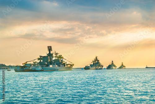 Fotografie, Obraz Military navy ships in a sea bay