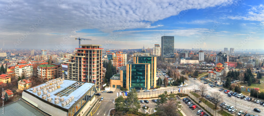 Fototapety, obrazy: Aerial view over urban skyline and  industrial sites under construction in Sofia, capital of Bulgaria