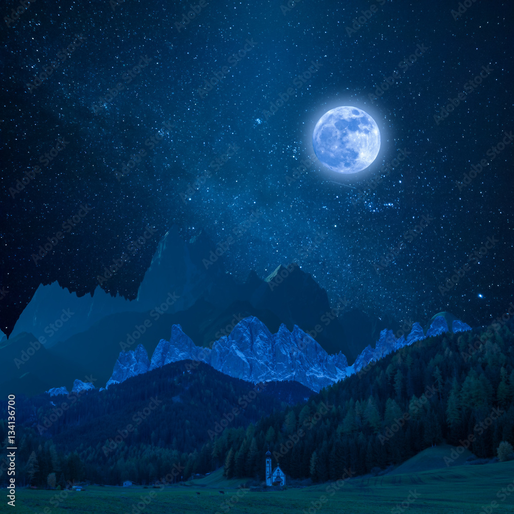 Mountain in Moon Light